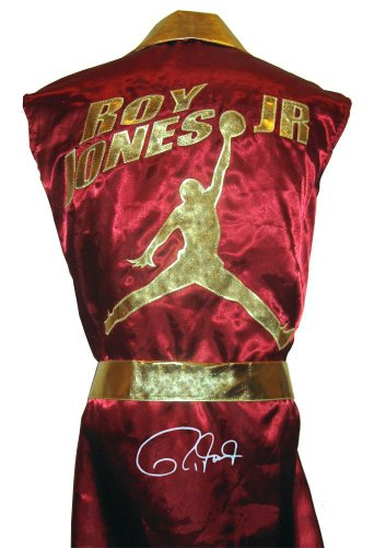 Roy Jones Jr Signed Burgundy Jordan Logo Robe - Autographed Boxing Robes and Trunks ()