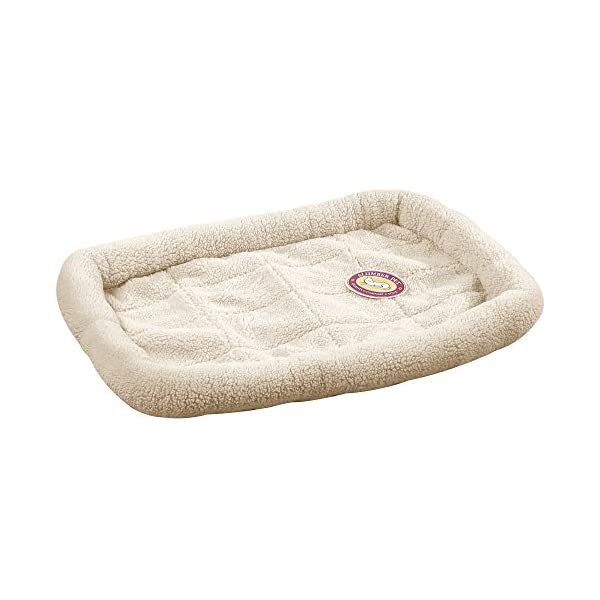 Slumber Pet Sherpa Crate Beds  – Comfortable Bumper-Style Beds for Dogs and Cats, X-Small, Natural Beige