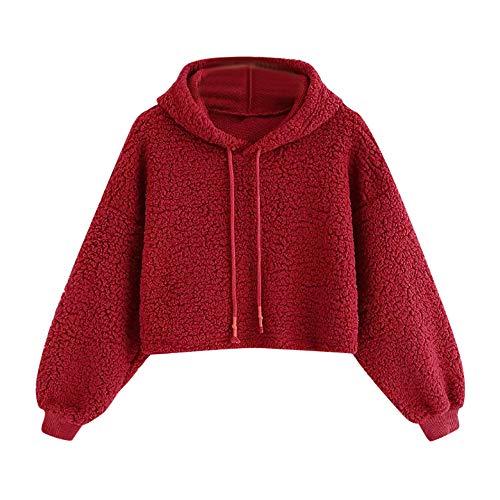 Mambain Cappuccio Ragazza Sweatshirt Moda Felpa Taglie Felpe Invernali Eleganti Maniche Top Corte Forti Con Lungo Peloso Donna Tumblr Larghe Autunno Rosso Cappotti Casual Pullover pqdIwX