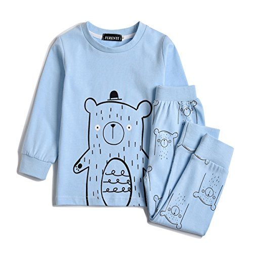 - FERENYI Children Pajamas Cotton Kids Clothes Toddler Sleepwear Clothes T Shirt Pants Set For Kids (Blue 1, 3T)
