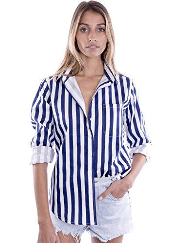 Button Cuff Pants - CAMIXA Women's Striped Shirt Casual Long Sleeve Button-Down Drapy Collar Blouse XS Navy/White