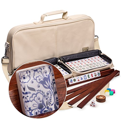 Yellow Mountain Imports American Mahjong (Mah Jong, Mahjongg, Mah-Jongg, Mah Jongg) Set with 166 Tiles, 4 All-in-One Racks with Pushers, Accessories, and Soft Leatherette Case, (Deluxe American Mahjong Set)