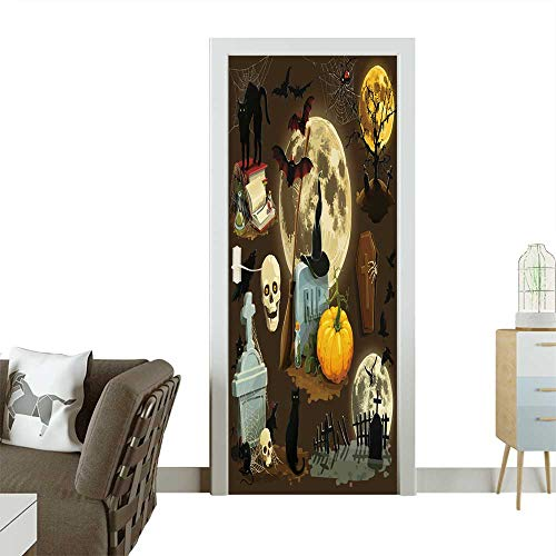 Homesonne 3D Photo Door Murals Clip Art s for Halloween Celebration Easy to Clean and Apply W38.5 x H79 -