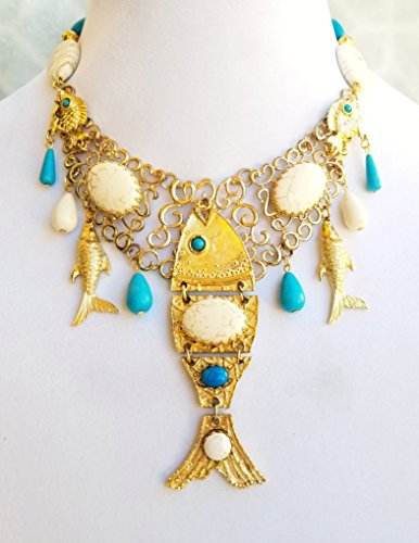Turquoise Gold Vintage Fish Bib Necklace Earrings Bracelet One of a Kind by Claire Kern Creations