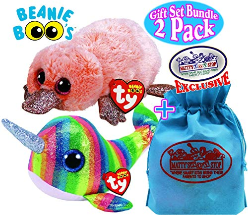 Ty Beanie Boos Sea Creatures Nori (Narwhal) & Wilma (Platypus) Gift Set Bundle with Bonus Matty's Toy Stop Storage Bag - 2 Pack