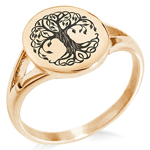 (Tioneer Rose Gold Plated Stainless Steel Celtic Knot Tree of Life Symbol Minimalist Oval Top Polished Statement Ring, Size 9)