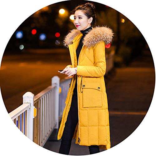 (Winter Coat Jacket Female Cotton Coat Long Section Slim Over The Knee Hooded Collar Cotton,Yellow 1,XXL)