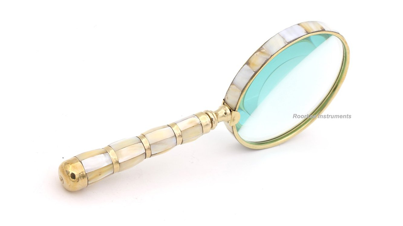 Brass MOP 10X Magnifier, Handheld Reading Magnifying Glass, Best for Reading, Crossword Puzzle, Rocks, Coins, Stamps and Inspection, Perfect for Personal Use, Office, Classroom, Travel