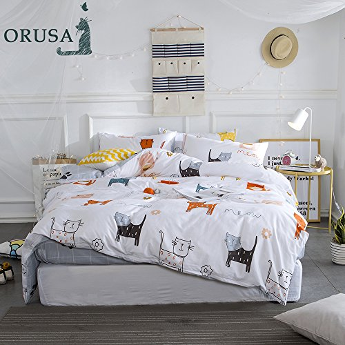 ORoa Cartoon Cat Print Twin Duvet Cover Sets for Kids White Grey 100% Cotton Reversible Comfortable 3 Pieces Girls Boys Twin Bedding Sets with 2 Pillowcases Child Bedding Sets