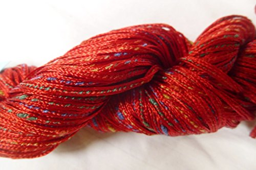 Crystal Palace Parfaite Red multicolor slubs chainette tube rayon blend ribbon (Crystal Nylon Yarn)