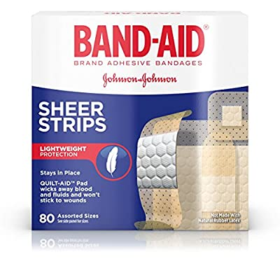 Band-Aid Brand Sheer Strips Adhesive Bandages, Basic Care Assorted Sizes, 80 Count from Band-Aid