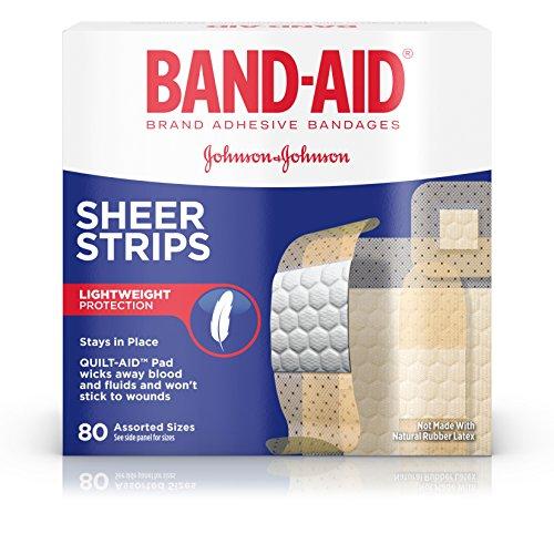 Care Adhesive Bandages - Band-Aid Brand Sheer Strips Adhesive Bandages, Basic Care Assorted Sizes, 80 Count