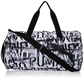 Puma At Ess Barrel Bag - White Black Bag For Women, Size One Size