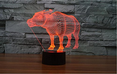 3D Buffalo lamp Night Light Table Desk Optical Illusion Lamps 7 Color Changing Lights Home Decoration Xmas Birthday Gift ()