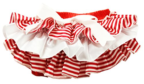 Wholesale Princess Red and White Ruffled Stripe Satin Bloomers-24-36 months (Ruffled White Pettiskirt)