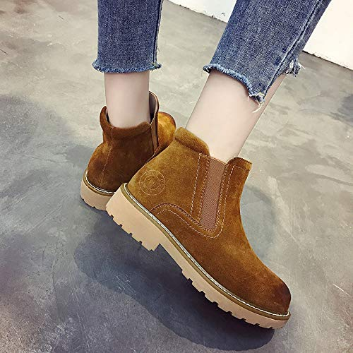 Cuero Tendencia Botas Zapatos De Martin Con Martin Shoes Invierno Otoño Camello E CqwxznOpa
