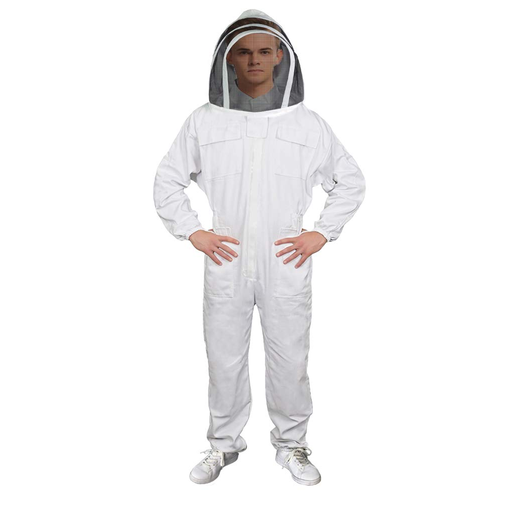 Luwint Adult Full Body Ventilated Beekeeping Suits White//XX-Large Cotton Bee Beekeeper Suit with Self Supporting Fencing Veil Hood for Men Women