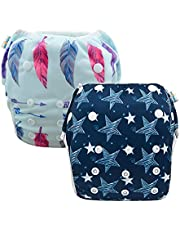 Babygoal Baby Swim Diapers, Reusable Washable and Adjustable for Swimming, Outdoor Activities and Daily Use, Fit Babies 0-2 Years