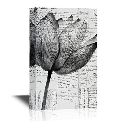 Black and White Lotus Flower with Retro Style Letters Background