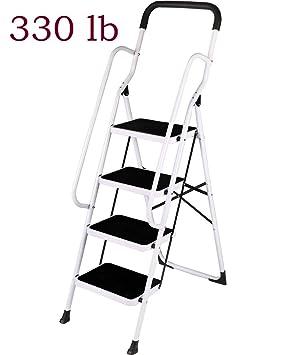 Folding 2 3 4 Step Ladder Hand Rail Safety Non Slip Mat Tread Small Stool Loft