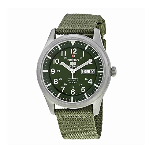 Seiko 5 Men's SNZG09K1 Sport Analog Automatic Khaki Green Canvas Watch
