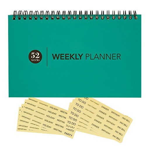Undated Weekly Desk Pad Calendar Planner - Wire Bound - For Office & Home - 52 Weeks - Teal - Includes Clear Reminder Stickers - 8 x 5 inches