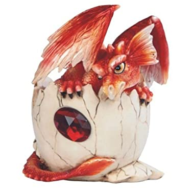 StealStreet Red Baby Dragon in Eggshell with Gem Figurine, 4.75