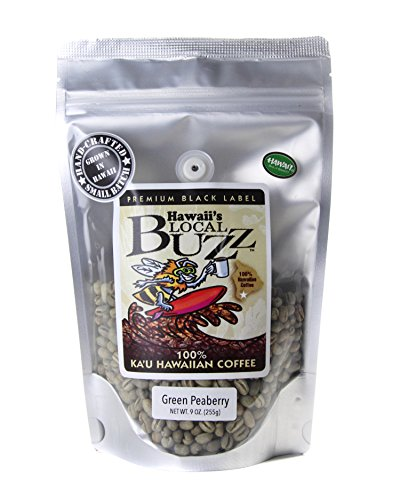 Hawaii's Local Buzz Premium Black Label Peaberry, Green (Unroasted) Beans, 9 Ounce
