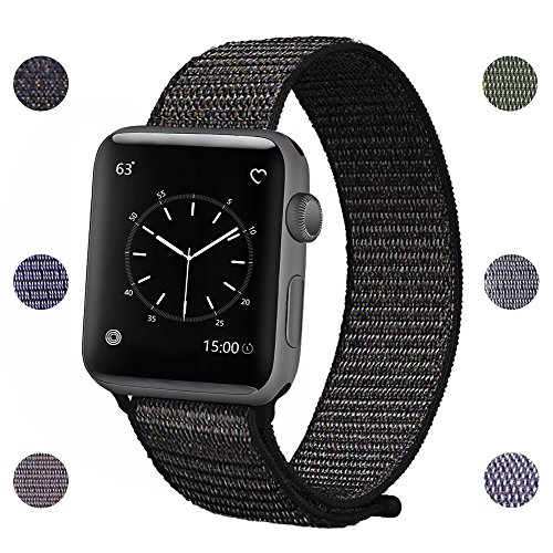 Price comparison product image Sport Loop Band for Apple Watch 42mm 38mm,  Lightweight Breathable Nylon Sport Strap with Velcro Closure Replacement iWatch Bands for Apple Watch Series 3,  Series 2,  Series 1 42mm Black