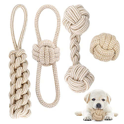 Hundespielzeug Seil mit Knoten Ball, 4 Stück Kauen Hundespielzeug Set für Kleine Hunde/ Mittlere, Welpen Spielzeug für…