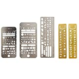 Elisona-5 PCS 5 Style Portable Metal Multi Functional Drawing Template Ruler Stencil for Agenda Planner Journal Scrapbook Schedule Book Diary