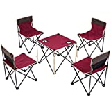 Portable Folding Table Chairs Set Outdoor Carrying Bag Red By Azaleahome
