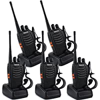 Retevis H-777 2 Way Radio UHF 400-470MHz 3W 16CH CTCSS/DCS Flashlight with Earpiece Walkie Talkies(5 Pack)