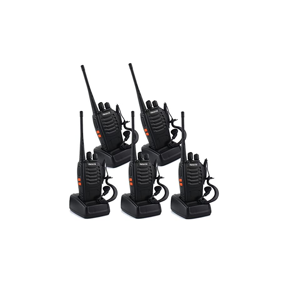 Retevis H 777 2 Way Radio Walkie Talkies Rechargeable UHF 400 470MHz 16CH CTCSS/DCS Flashlight Two Way Radios(5 Pack)