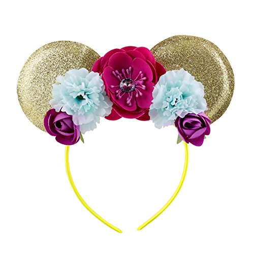 (Lovely Mickey Mouse Ears Flowers Headband Hoop Hair Accessories for Birthday Party Travel Festivals (Gold Fuchsia))