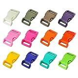 "LIHAO 60 PCS 5/8"" Plastic Quick Side Release Buckles (12 Colors)"
