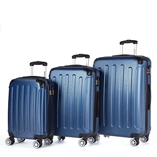 Zwillingsrollen 3 tlg.2045 neu Reisekofferset Koffer Kofferset Trolleys Hartschale in 12 Farben (Hellblau)