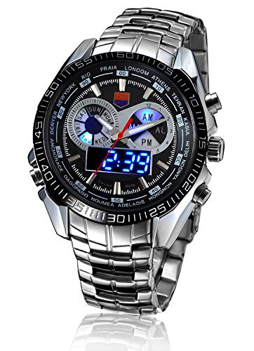 Price comparison product image Men's Military Steel Men's Quartz Clock Dual time Digital Blue Binary LED Alarm Waterproof Sport Watch