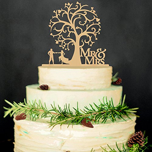 Hatcher lee Mr and Mrs Cake Topper Wood Wedding Cake Topper Funny Bride and Groom with Blossom Tree Rustic Cake Topper for $<!--$9.99-->