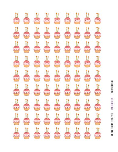 Monthly Planner Stickers Kawaii Birthday Cupcakes Stickers Planner Labels Compatible with Erin Condren Life Planner - 81 Stickers