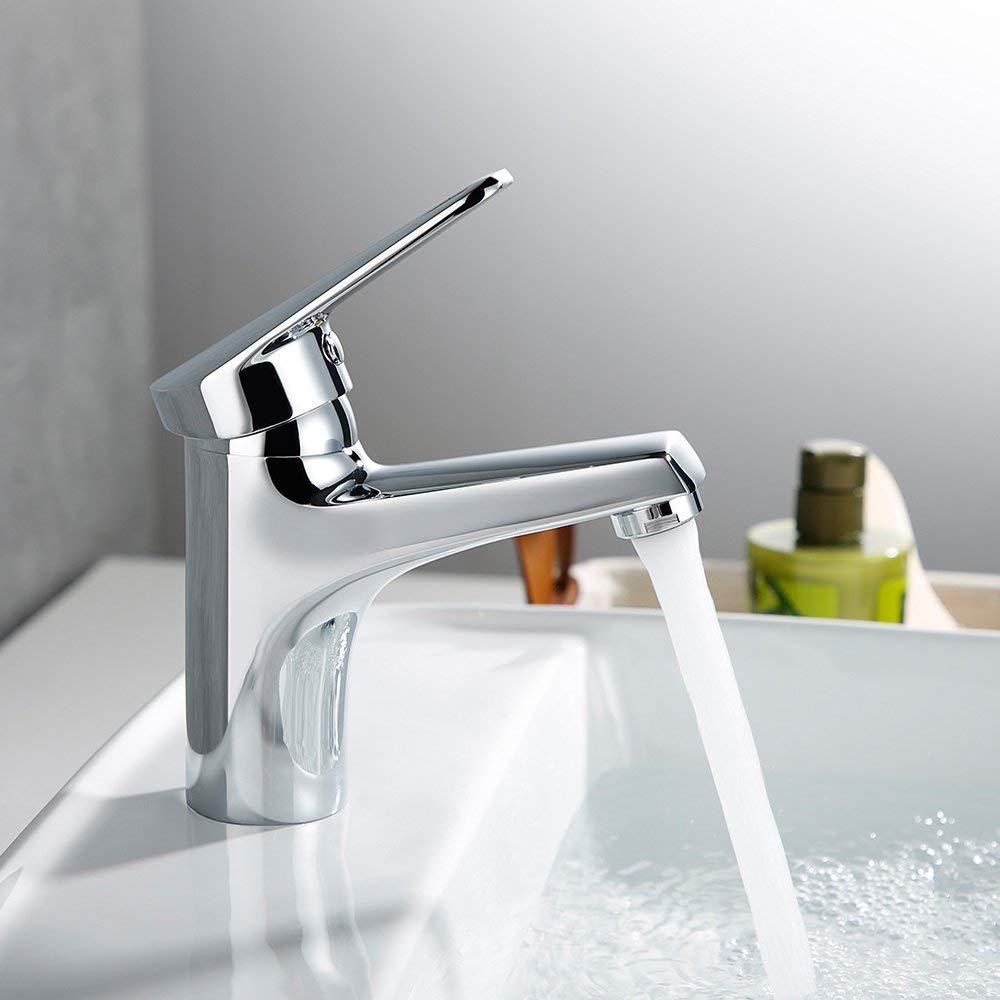 ERNTOGO Wasserhahn Bad Chrom Waschbecken Waschtisch Armatur Einhebelmischer Badarmatur Mischbatterie Waschbeckenarmatur Badzimmer