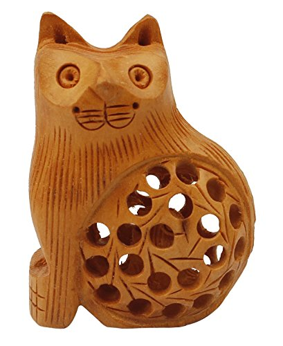 LAST MINUTE DEALS - Baby Shower Gifts for Women Mother Cat Statues and Figurines with Baby Inside 2.5 Inch Hand-Carved Wooden Sculpture in Light Brown Unique Gift for Cat Lovers