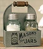 1 X Mason's Jars Box Salt and Pepper Caddy with Wood Handle