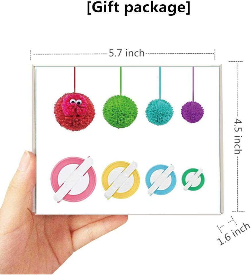 4 Sizes Pompom Maker Tool Set for Fluff Ball Weave DIY Wool Yarn Knitting Craft Project for Kids and Adult 12PS Acrylic Yarn+10PS Knitting Stitch Markers+10PS Plastic Needles Pom Pom Maker