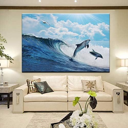 海景ポスターと版画壁アートキャンバス絵画壁の装飾かわいいイルカ写真用リビングルーム50×70センチなしフレーム