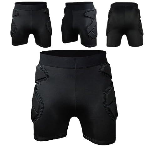 c332ba54e8f COOLOMG Men s Sport Soccer Shock Rash Guard Short Pants Grappling Goalkeeper  Padded Shorts M