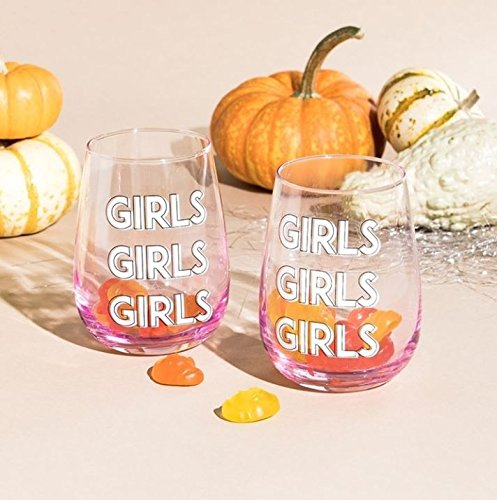 Set of 2 16oz Girl Girl Girl Stemless Wine Glasses. Comes in Beautiful Retail Packaging. Great Holiday Gift for Wine Lovers