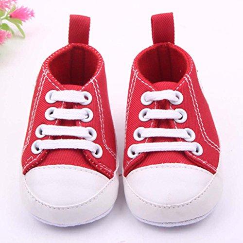 Happy Cherry 1Par Zapatos Bebés de Lona Zapatillas Primeros Pasos de Niños Niñas Antideslizante Suave Rojo