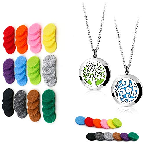 2PCS Essential Oil Diffuser Necklaces (Tree of Life & Cloud) + 48PCS 17mm Replacement Felt Pads