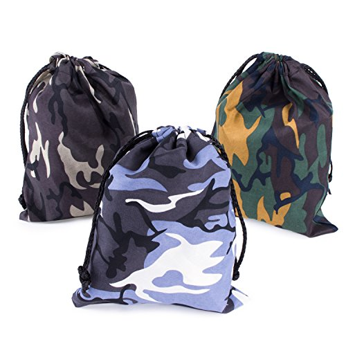 (Camouflage Drawstring Travel Bags Pouch Sacks for Party Favors, Outdoor Camping Picnics, Hiking (12 Pack))